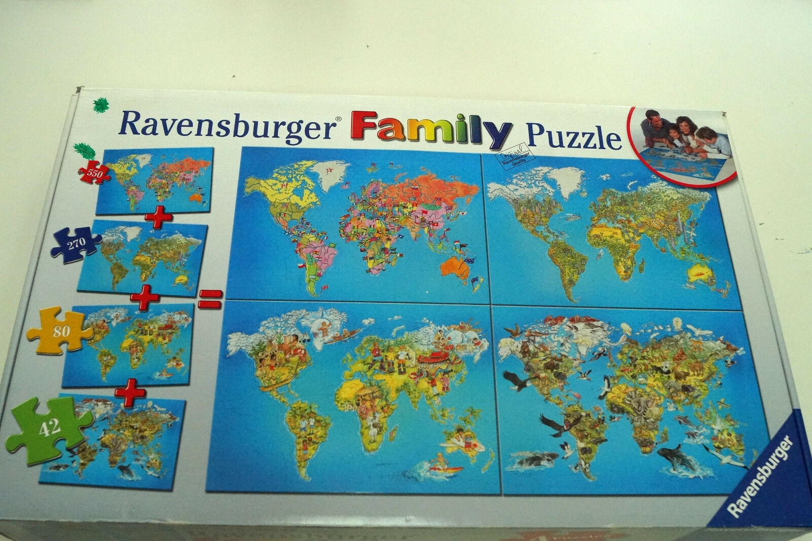Ravensburger Family Puzzle Jigsaw World Maps 4 Puzzles  42, 80, 270, 550 Pieces
