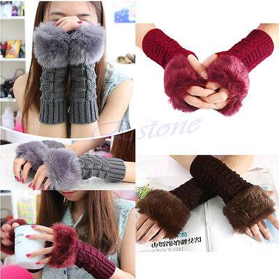Fashion Women Fur Fingerless Warm Winter Hand Wrist Knitted Mitten Wool Gloves