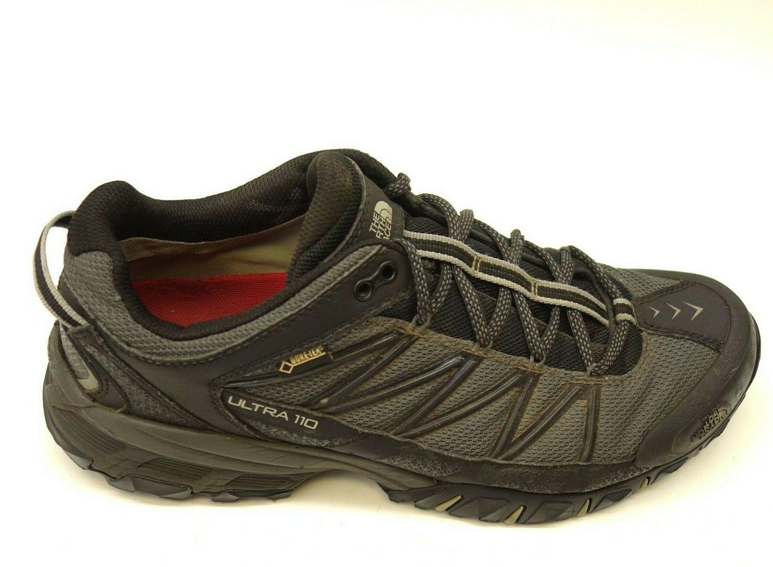 North Face Ultra 110 GTX Sz 10.5 Negro Atlético Soporte Trail Senderismo Zapatos para hombre