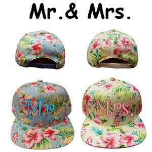c54fa824d8d Hawaiian Floral Mr.   Mrs. Wedding Gift Hats for Bride   Groom 100 ...