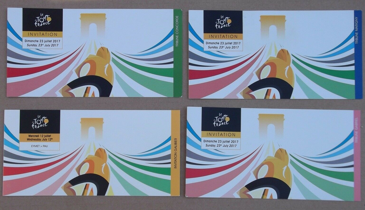 4 cartons Invitation Champs Champs Champs Elysées Paris Tour De France 2017 b1fe6b
