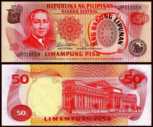 PHILIPPINES 50 PISO 1978 ND UNC CONSECUTIVE 5 PCS LOT P 163 b  SIGN 9