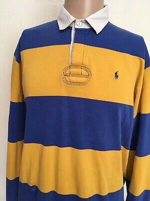 Polo Sport Ralph Lauren Striped Rugby Shirt Royal Blue Pony Yellow L Ebay