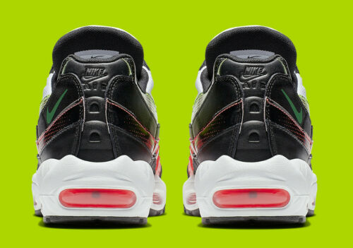 RARE NIKE AIR MAX 95 SE Homme Baskets, UK9, Blanc/Noir/Volt/rouge, AJ2018004 OG
