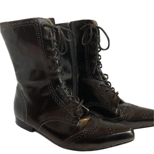 Demonia Brogue-10 Vegan Leather Pointy Toe Boots M