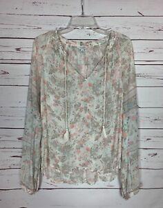 Lucky-Brand-Women-039-s-M-Medium-White-Gray-Floral-Long-Sleeve-Cute-Top-Blouse-Shirt