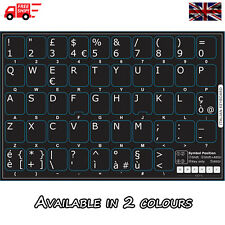 Italian Black Keyboard Stickers with White Letters for Laptop Computer PC