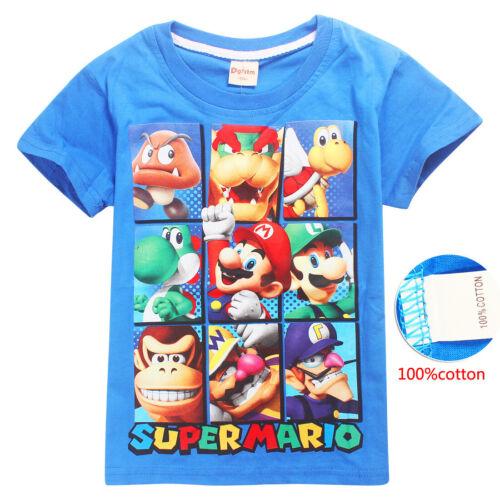 Super Mario Luigi cartoon Kids T-shirts Tops Costume tshirts Fancy dress up gift