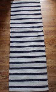 Details About Nip Williams Sonoma Morocco Stripe Kitchen Rug Navy Blue Gray 2 X 6