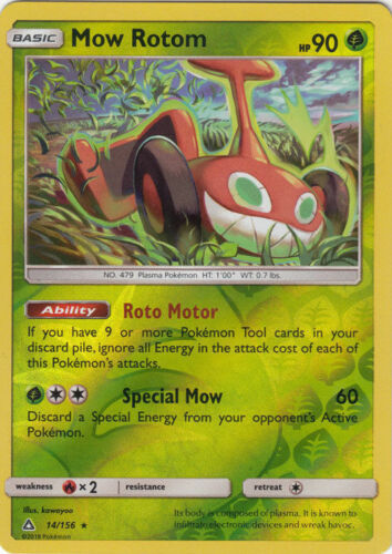 Mow Rotom 14//156 Reverse Holo Foil Pokemon Rare Ultra Prism