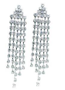 Dangle-Drop-Clip-on-Earrings-Crystal-Women-Ladies-Clipon-Silver-Tassle-Bridal