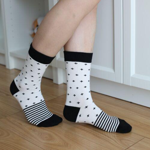 5 Pairs Womens Cotton Socks Lot Warm Fashion Black and White Casual Dress Socks