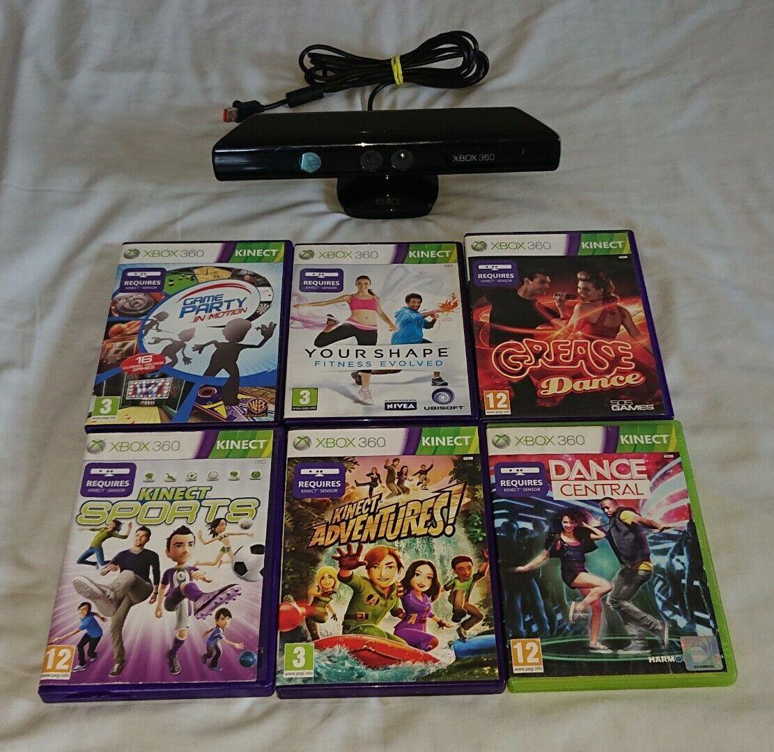 Official Microsoft Xbox 360 Kinect Sensor Bar + 6 Kinect Games TESTED & WORKING