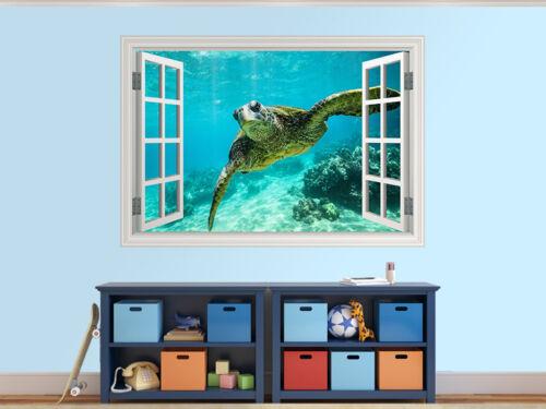 58036908ww Giant tortoise close-up photo window wall sticker wall mural