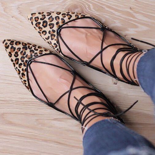Zara New Leopard Imprimé animal fourrure Bout Pointu Plat Ballerines Lacets Chaussures Toutes Les Tailles