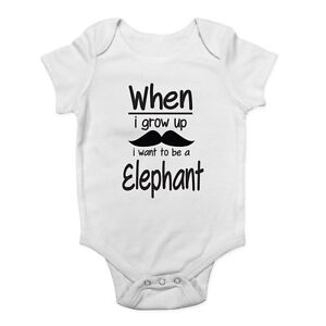 21cb2fb44 When I Grow Up I Want to be a Elephant Baby Grow Vest Bodysuit Boys ...