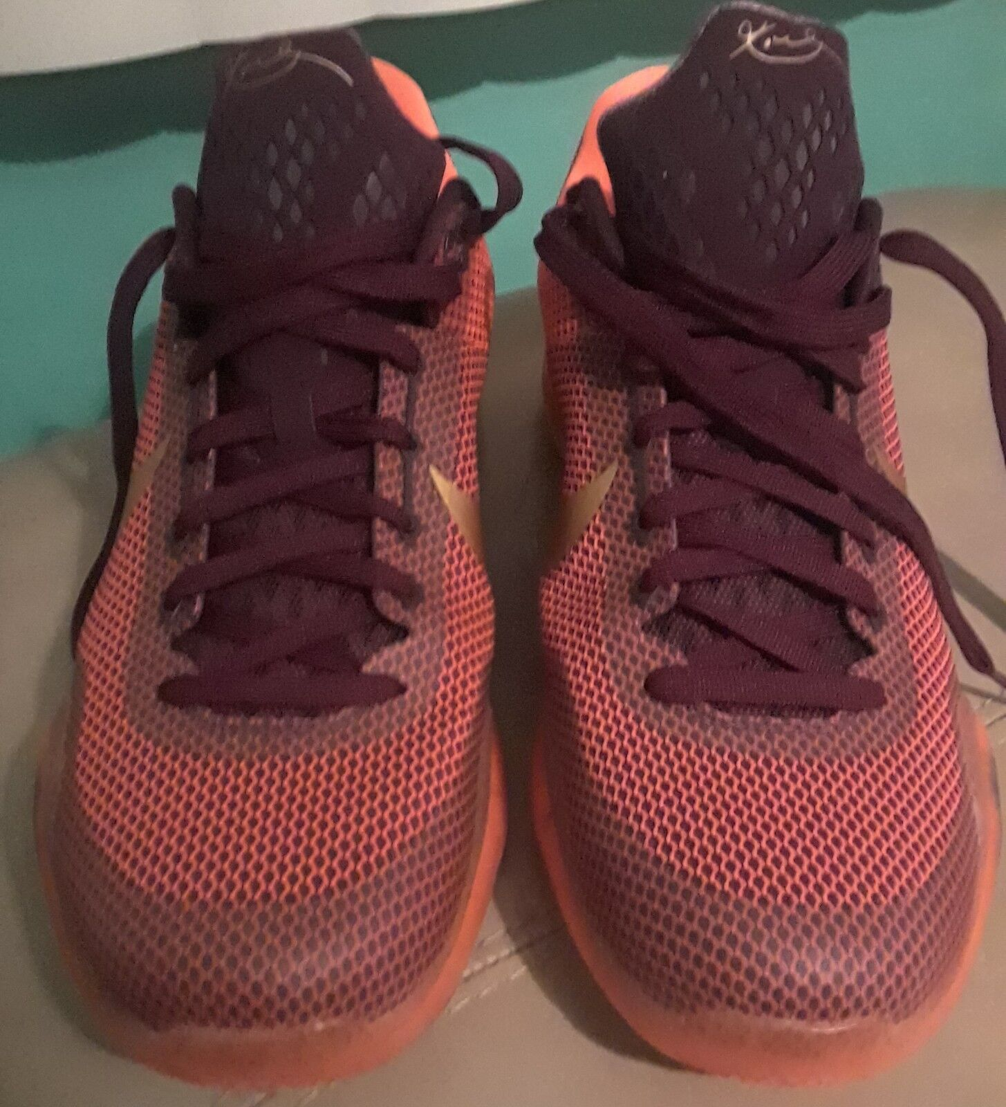 Nike Kobe X 10 Silk Road Orange merlot Villian Red Metallic Gold Size 12 With Bo