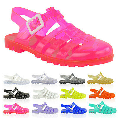 WOMENS LADIES JELLY SUMMER SANDALS FLAT BEACH HOLIDAY FLIP FLOPS SHOES SIZE