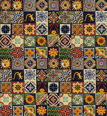 "200 Mexican Talavera TILES Different Patterns 4x4"" Clay"