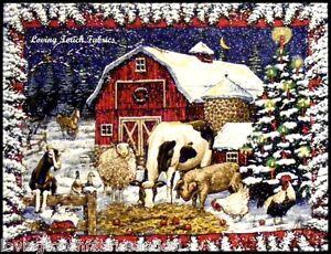 Christmas-Barn-Cow-Blanket-Wall-Fabric-Panel-36x44