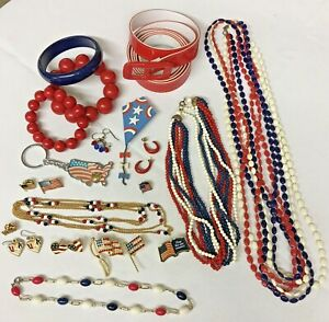 Lot of Red White & Blue Patriotic Jewelry Flags USA Necklaces Bracelets Earrings
