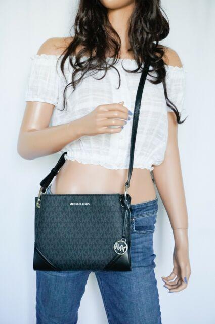 Michael Kors Nicole Triple Compartment Crossbody Bag MK Signature Black/Silver