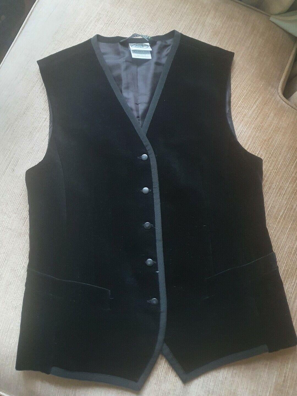 Laura Ashley vintage Ladies Velvet Waistcoat Size 12 Black Velour