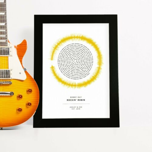 Personalised Sound Wave Song Lyrics Picture Love Anniversary Gift Print