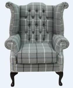 Image is loading Chesterfield-Queen-Anne-High-Back-Wing-Chair-Piazza-  sc 1 th 245 & Chesterfield Queen Anne High Back Wing Chair Piazza Square Slate ...