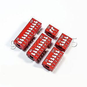 US Stock 50x 2, 4, 6, 8,10 Bit Position Way DIP Switch 2.54mm Pitch Assorted