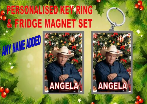 Garth Brooks Key Ring /& Fridge Magnet Gift Set Secret Santa Gift