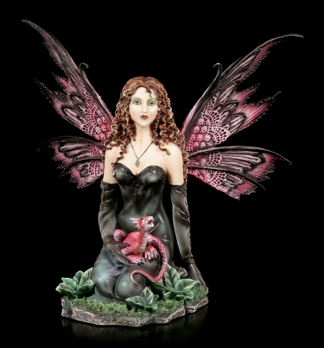 Figura Elfos - Evelyne con una Pequeña Dragones - Hada Ángel schwarz Vestido -