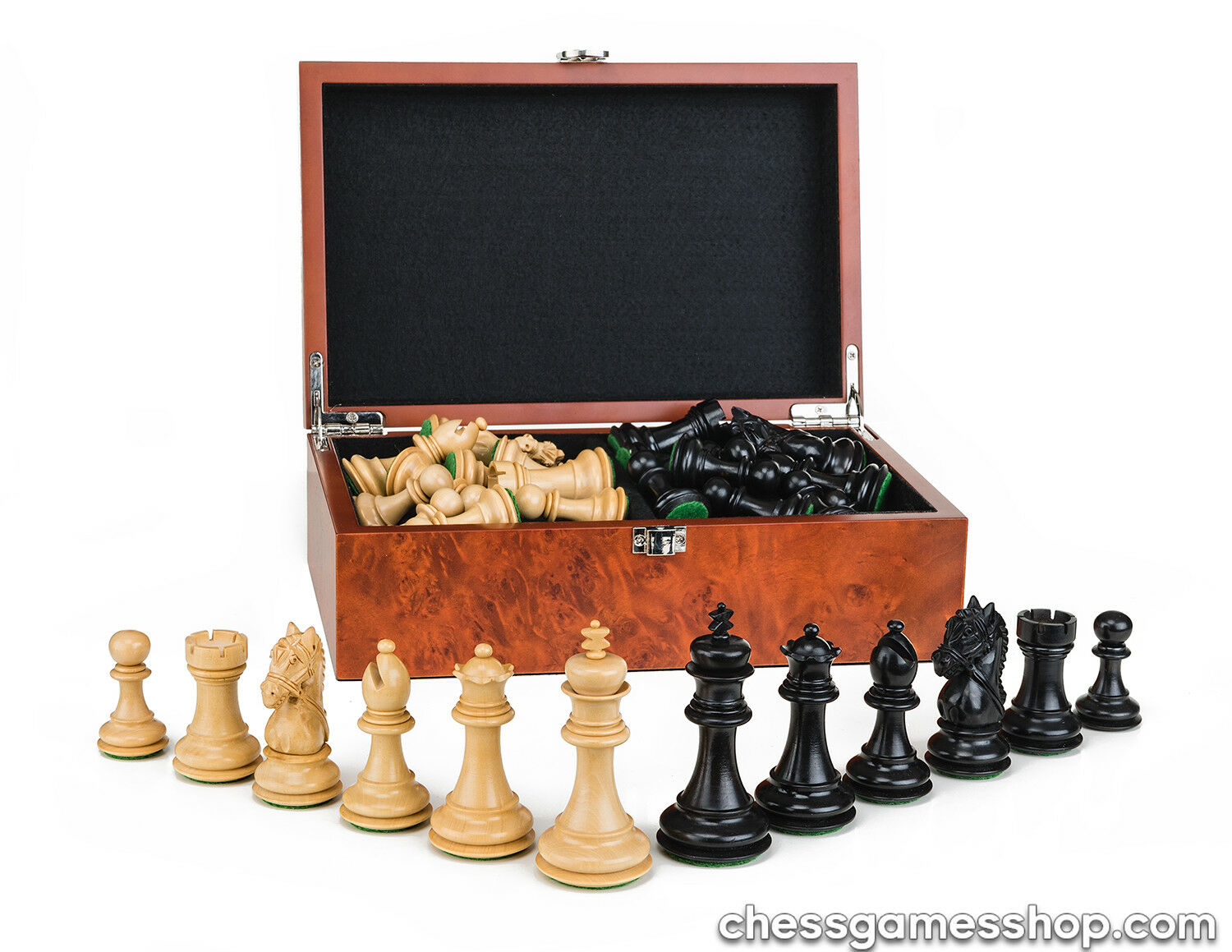 Luxury wooden CHESS pieces New York schwarz - weighted felted-EXTRA queens-in BOX