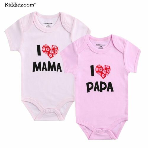 Kiddiezoom Brand Newborn twins Baby Boy Clothes Set I love Mama Papa Design