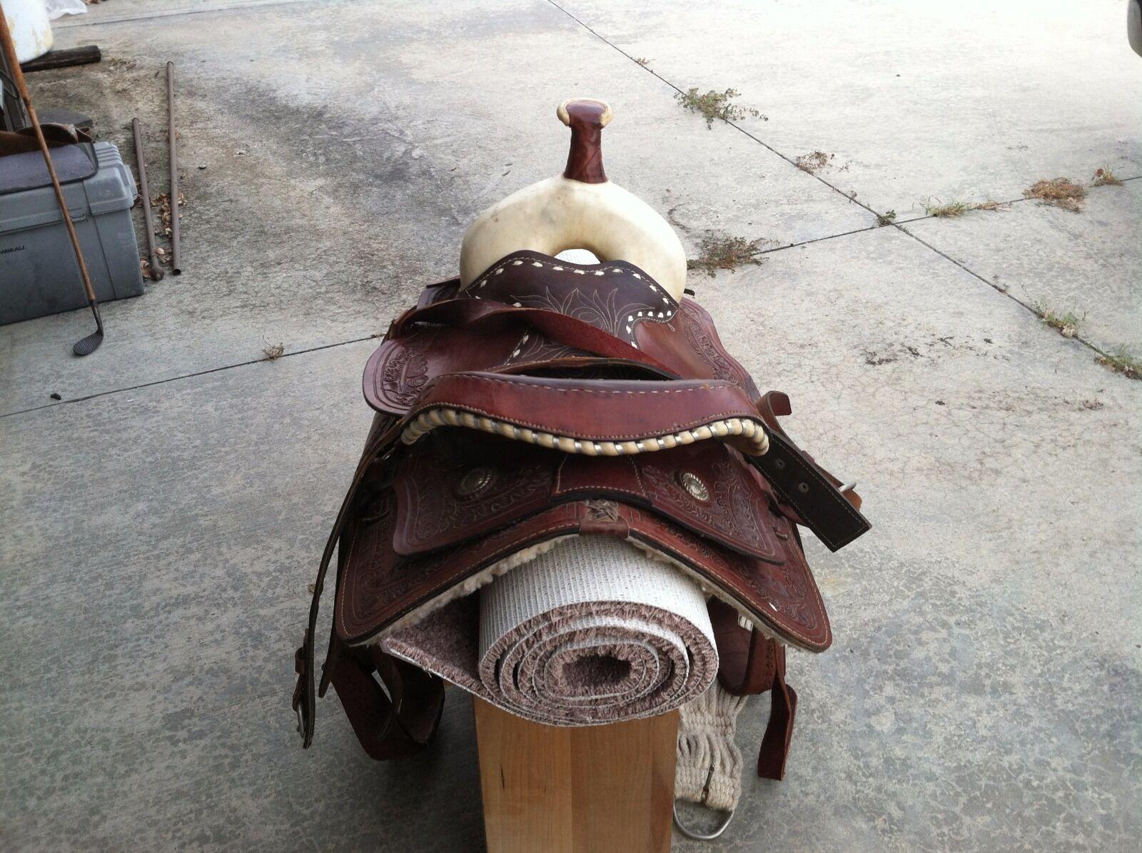 14  occidental Vintage Asiento De Cuero Racing, Trail, montar a caballo