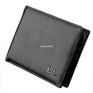 Black Mens Slim Card Holder Bifold GENUINE Leather Wallet Purse Stylish Short