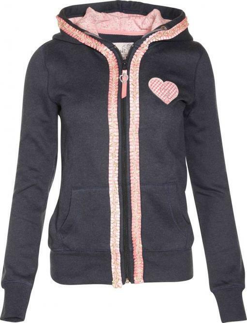 Marjo Damen-Jacke Trachten Hoodie Belma Sweatjacke,blau mit Kapuze S-XL im SALE