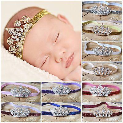 Baby Girl Newborn Hairband Cerchietto Glitter Diadema Con Strass Corona Photo Prop- Design Accattivanti;