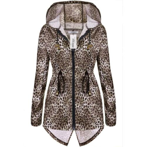 Women Leopard Print Zip Waterproof Raincoat /& Polyester Parka Jacket Coat 02