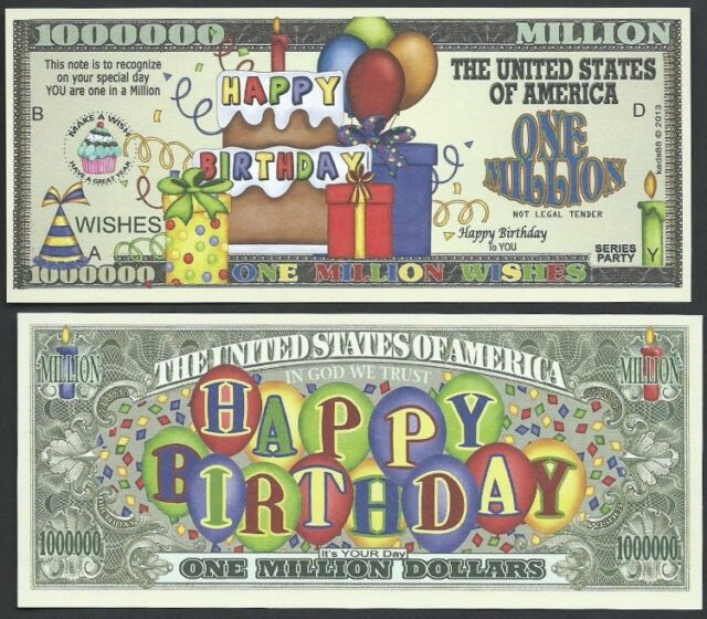 Lot of 25 Bills- HAPPY BIRTHDAY BALLOONS ONE MILLION WISHES