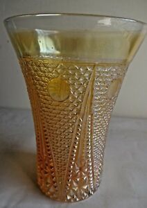 Vintage-Carnival-Glass-Tumblers-Beaded-SpearsJain-glass-Rare-Collect-47-F