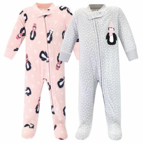Hudson Baby Girl Fleece Sleep and Play 2-Pack Pink Penguin