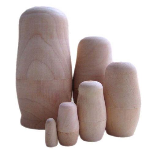 S2L9 Russian Nesting Doll Blank Matryoshka Wood Unpainted DIY Handicraft 6 set