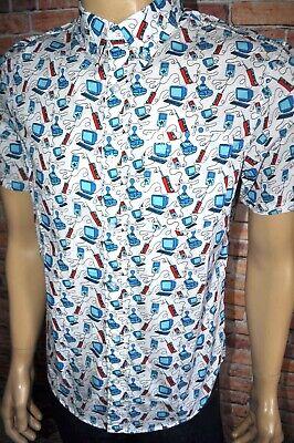 New $79 Original Penguin Computer Print 80`S Heritage Slim Fit Shirt Sz S,M,L,XL