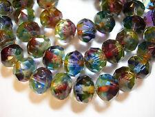 25 8x6mm STUNNING! Blue Purple Yellow blend Picasso Czech Rondelle Glass beads