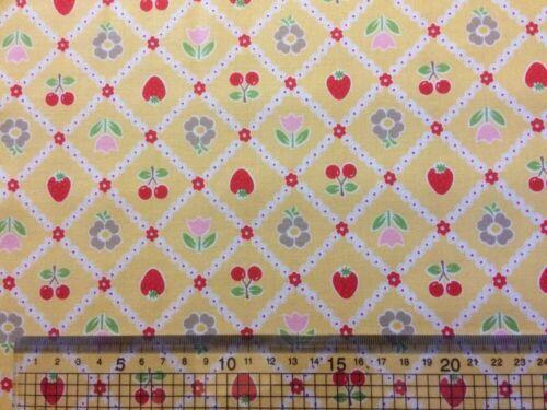 Riley Blake Bake Sale Fruit Fabric Floral C3432 Yellow material LORI HOLT