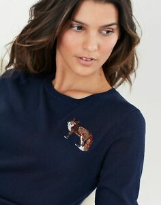 Joules Womens Tina Embellished Crew Neck Jumper - Navy Fox
