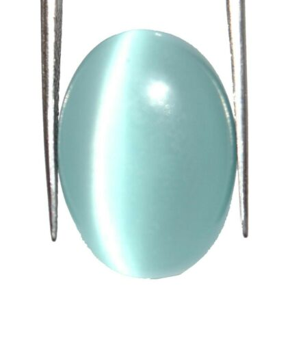 Sky Blue Cats Eye Chrysoberyl 100/% Natural Oval Gemstone 14-16 Ct AGI Certified
