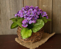 Twig Basket W/ Purple African Violets Flower Primitive French Country Spring