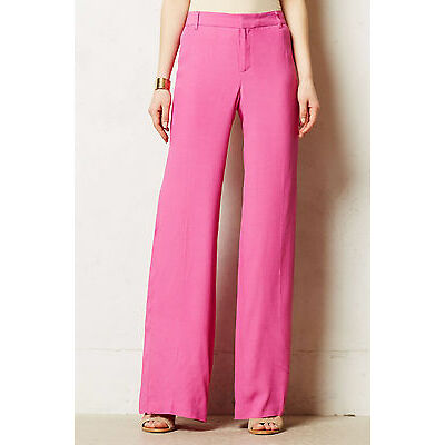 Elevenses Cinematheque Wide-Legs Pants SIze 8 Pink NW ANTHROPOLOGIE Tag